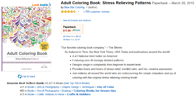 Heres Another Adult Coloring Book That Sells On Amazon For 1169 And Has A Sales Rank Of 3327 This Translates Into About 70 Per Day Or